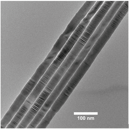 High Resolution Micrograph Of A Bundle Of Five CdSe Nanowires.